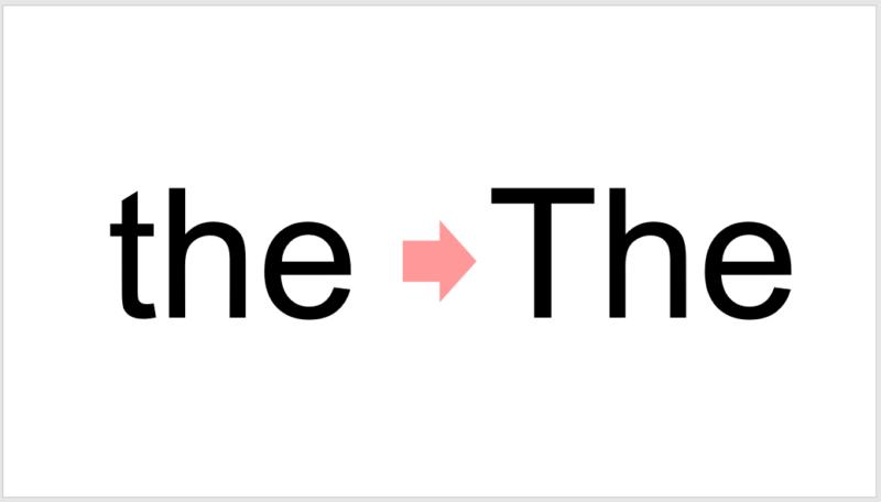 パワーポイントで勝手に先頭文字が大文字に変わる