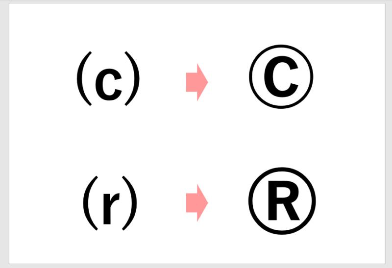 パワポで(C)や(R)が勝手に変換される