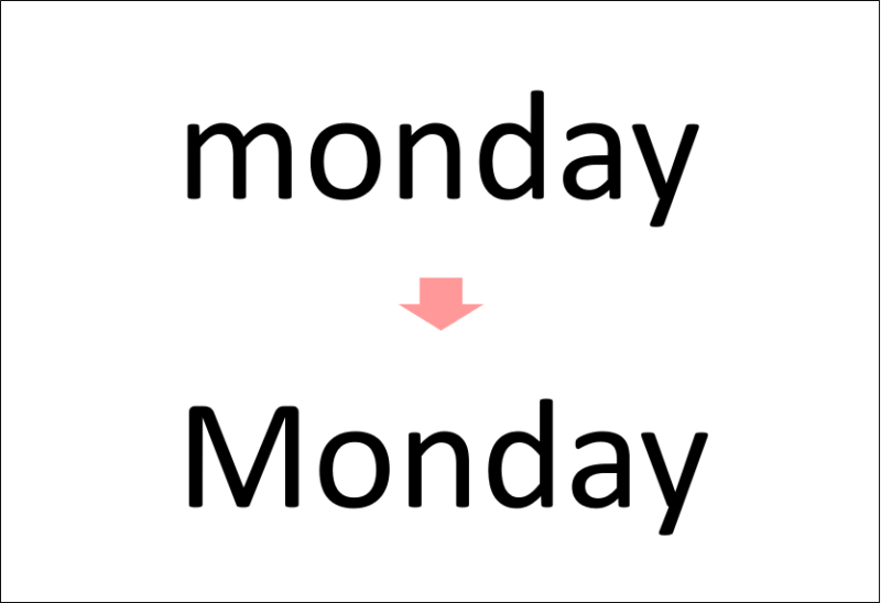 オートコレクトの曜日の先頭文字を大文字にする