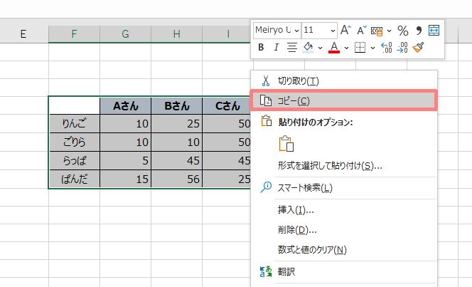 パワーポイントにエクセルで作った表を埋めこむ方法
