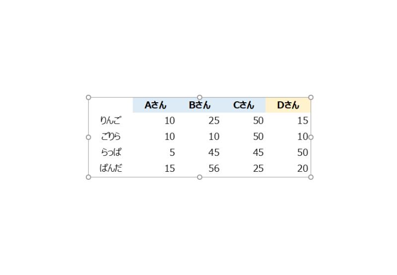 埋め込み形式で表の枠線を消す方法