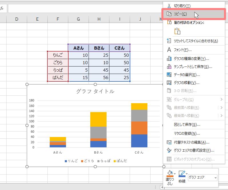 パワーポイントにエクセルで作ったグラフを埋め込む方法